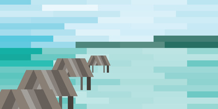 vector illustration of beach on background and wooden bungalows row stylized tiles design Illustration