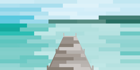 vector illustration of beach on background and wooden dock stylized tiles design