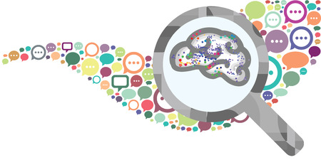 vector illustration of speech bubbles and brain in magnifier for new ideas born in discussion concept