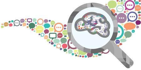 Vektorillustration von Sprechblasen und Gehirn in der Lupe für neue Ideen, die im Diskussionskonzept geboren wurden Vektorgrafik