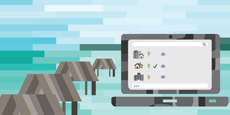 vector illustration of laptop with internet and beach on background for freelance and remote working concepts