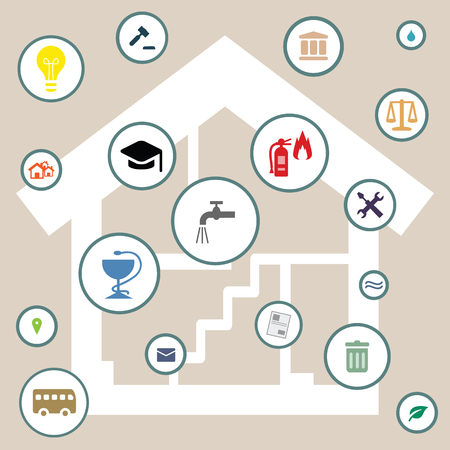 vector illustration of home interior scheme and public service and housing options symbols like water supply and fire protection  イラスト・ベクター素材