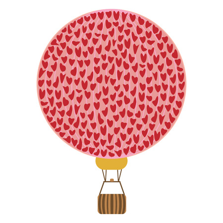 vector illustration of red hearts in hot air balloon shape for romantic travel honeymoon and love relationship concepts