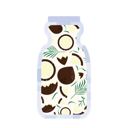 vector illustration of coconut vegan milk in a bottle