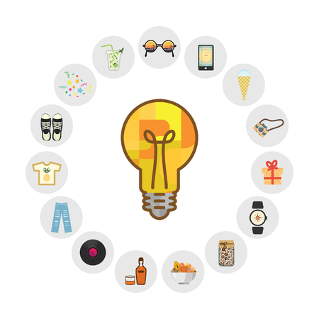 vector illustration of bulb and ideas for niche marketing products circle