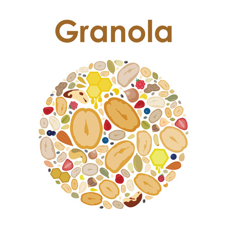 vector illustration of granola oats mix in a circle shape design for labels and emblems