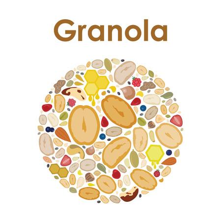 illustration vectorielle de mélange d & # 39; avoine granola dans une conception de forme de cercle pour les étiquettes et les emblèmes Vecteurs