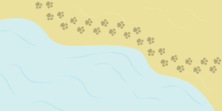 vector illustration of summer background with beach view and sea with animal step prints along the shore  イラスト・ベクター素材
