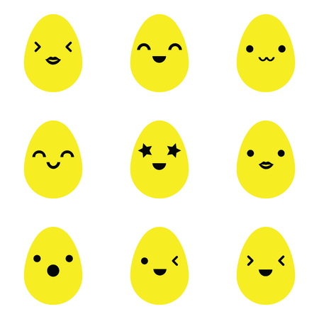 vector illustration for variety of moods for personality types in yellow egg shape faces