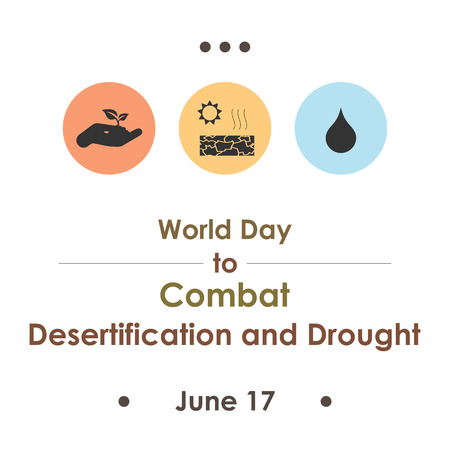 vector illustration / world day to combat desertification and drought in june