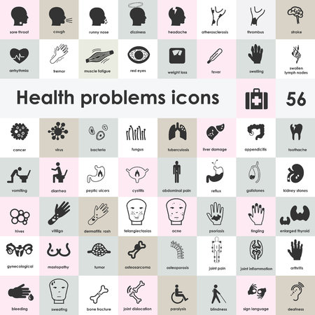 vector illustration / medical symptoms icons collection / health problems symbols set with names