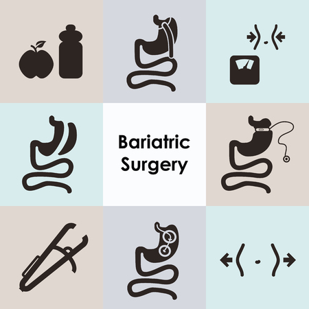 vector illustration / bariatric surgery icons set including gastric bypass baloon band sleeve gastrectomy and caliper Illustration