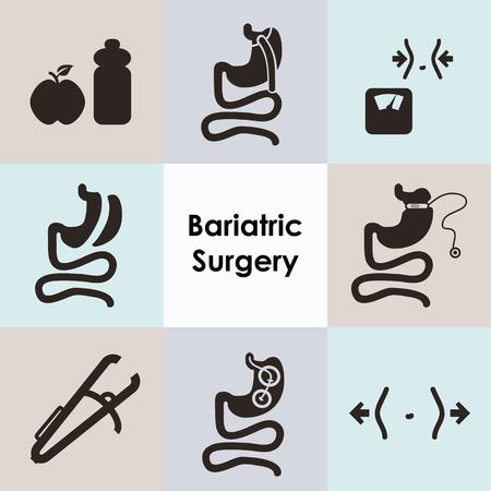 Vektor-Illustration / bariatrische Chirurgie Ikonen gesetzt, einschließlich Magenbypass-Baloon-Bandhülsen-Gastrektomie und Bremssattel