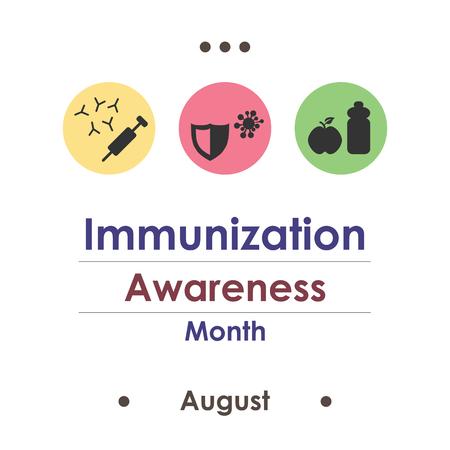 illustration vectorielle / août est le mois de la sensibilisation à la vaccination Vecteurs