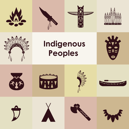 vector illustration  indigenous peoples icons set  イラスト・ベクター素材
