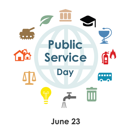 vector illustration  public service day in june