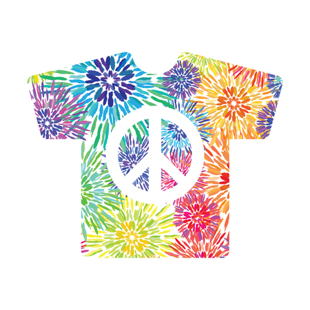 vector illustration  tie dye design t-shirt with peace symbol  rainbow colored concentric circles for hippies clothes designs