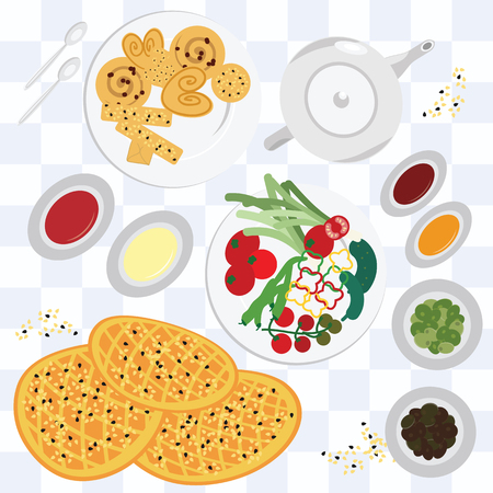 vector illustration  traditional meal  middle east food on the table bread vegetables tea