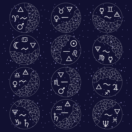 vector illustration / twelve zodiac signs in circles with responding planets and matter symbols  / mutable cardinal fixed symbols