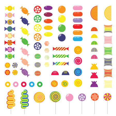 vector illustration  colorful sweets design elements set  rainbow colored lolly  round square and spiral sweets Çizim