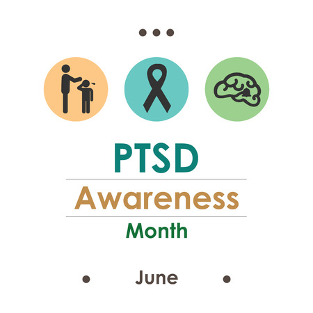 vector illustration / june is PTSD awareness month / posttraumatic stress disorder