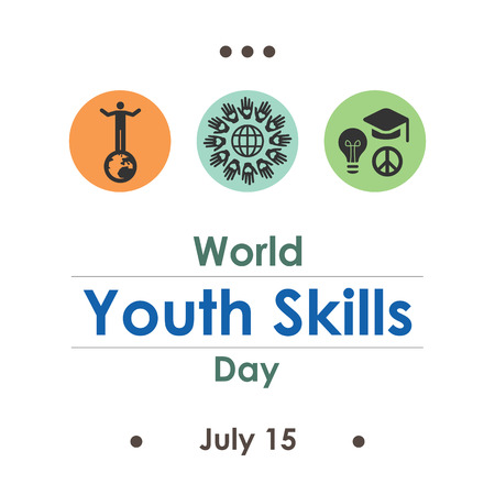 vector illustration / world youth skills day in july