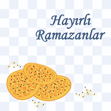 vector illustration / greeting card for Ramazan with text Have a Happy Ramadan written in turkish language / with traditional pide bread in the corner and blue tartan pattern tablecloth on background