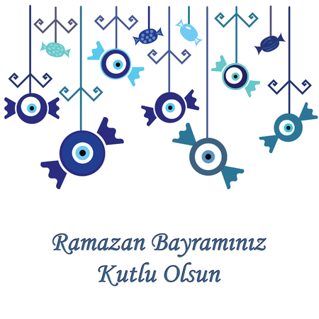 vector illustration / greeting card for Sugar Feast or Seker Bayrami celebrated in Turkey in the end of Ramazan fast with greeting Have a Happy Ramazan Feast written in turkish language / with blue sweets hanging decoration on the top