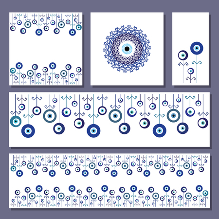 vector illustration / greeting cards layouts with turkish evil eye nazar boncuk charms