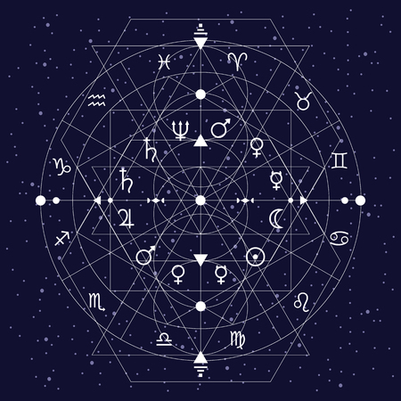 vector illustration / abstract geometrical background with zodiac circle and planets symbols