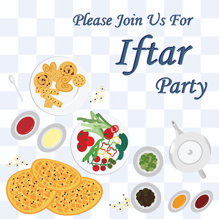 vector illustration / invitation card for traditional dinner during  Ramazan month with welcoming message Please Join us for Iftar party / with meal on the table