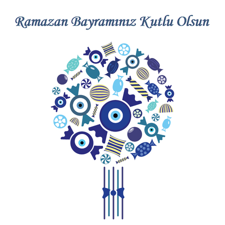 vector illustration / greeting card for Seker Bayrami celebrated in Turkey in the end of Ramazan with greeting Have a Happy Sugar Feast written in turkish language / with blue sweets in bouquet design Çizim