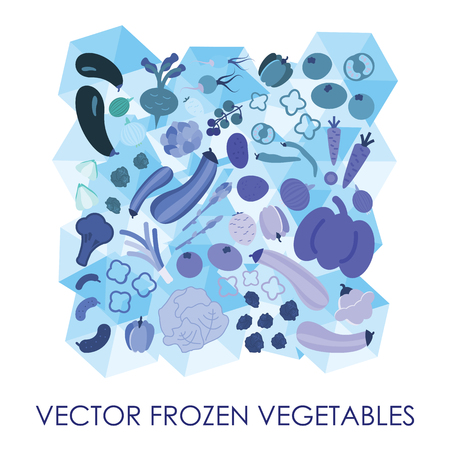vector illustration / frozen vegetables / blue ice cubes background
