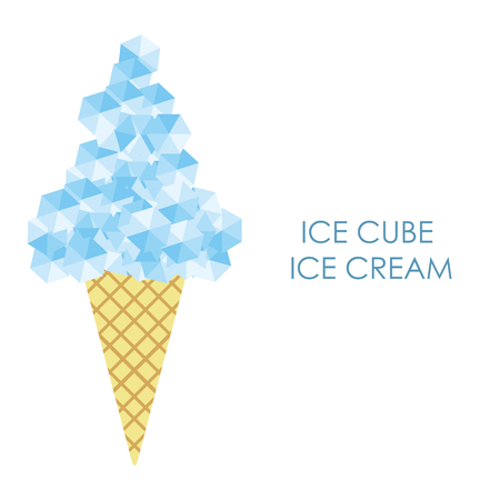 vector illustration / ice cream with ice cubes