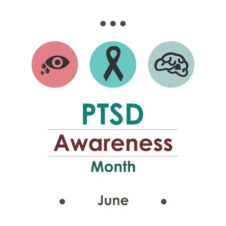 vector illustration / june is PTSD awareness month / posttraumatic stress disorder Vektorové ilustrace
