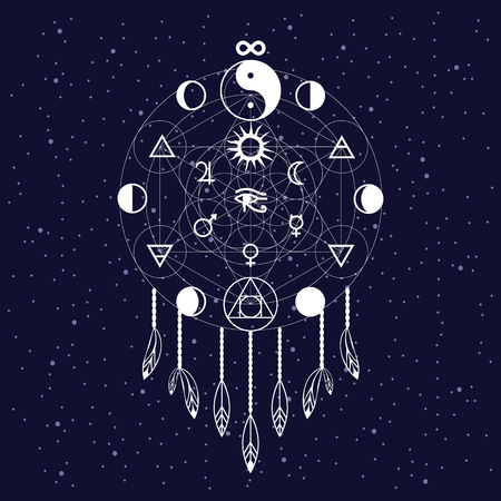 vector illustration  dreams catcher with metatron cube shape, ying yang and  philosphers stone symbols  astronomical signs of planets and moon phases  Horus eye egyptian symbol in the middle