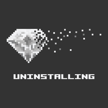 vector illustration / white shiny pixel crystal with simple flat art shapes around for computer program or mobile application unisntall banner or information note Illustration