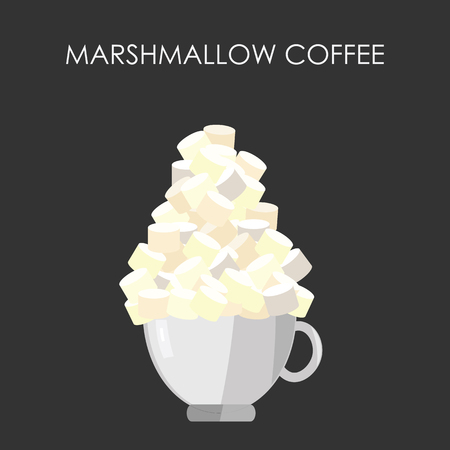 vector illustration / marshmallow coffee mug / cup of drink with marshmallows on the top