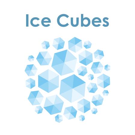 ベクターイラスト / 青いアイスキューブ を円形状デザイン / 冷やされた製品または冷凍製品用の丸いエンブレム