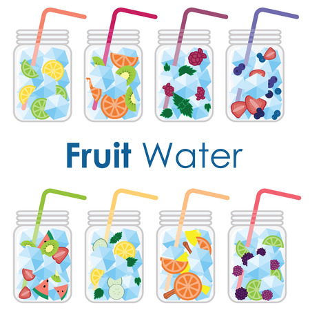 vector illustration / fruit infused water in glass jars / cold summer drinks with fruits and ice cubes good for healthy lifestyle products advertisement and detox programs
