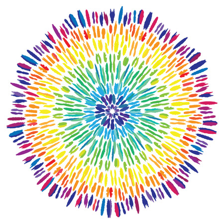 vector illustration / tie dye design element / rainbow colored concentric circles