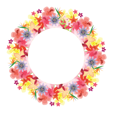 vector illustration / tropical flowers bright round frame / exotic blossoms in circle design for greeting, invitation or vacation designs