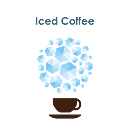 vector illustration / iced coffee mug / cup of cold drink with ice cubes in circle shape on the top