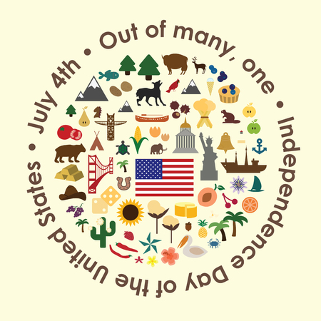 """vector illustration  united states independence day greeting card  states symbols in circle design with a phrase  """"Out of many, one"""" around the shape  イラスト・ベクター素材"""