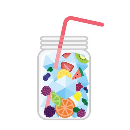 ilustración vectorial / agua con infusión de frutas en un frasco de vidrio / bebida fría de verano con frutas mixtas