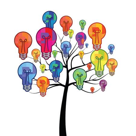 ilustración vectorial de bulbo en las ramas de los árboles para la creación de ideas nuevas y sorprendentes Ilustración de vector