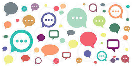 vector illustration of comments colorful icons and question marks for communications and discussion visuals