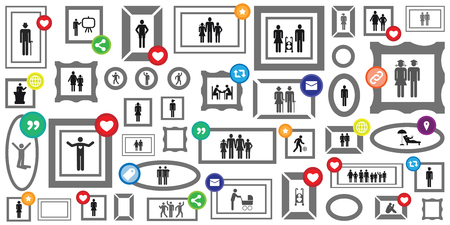 vector illustration of family photo online gallery with likes and shares symbols