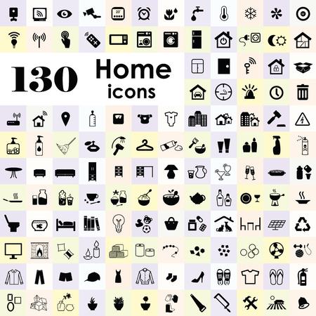 vector illustration of big set of home interior kitchenware decoration icons