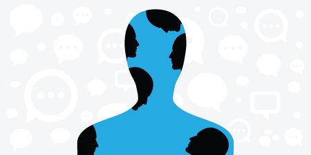 vector illustration of person silhouette with other faces inside for inner voices and multiply personalities concept